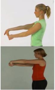 Beskrivelse af øvelse Udgangspunkt. 1 – hold hånden strakt frem for kroppen med håndfladen op. 2: grib omkring fingerne med den anden hånd. Der skal mærkes et stræk på overarmen. 3: hold strækningen et par sekunder og gentag bevægelserne dynamiske uden hvile.