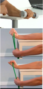 Øvelsen kan udføres både siddende og stående med hånd udover en kant (fx bordkant). 1) Håndvægten / vandflaske eller vandsflaske med sand i den ene hånd 2) lad underarmen få støtte af et bord, men hånden er fri for bordkanten. 3) Undgå hurtige bevægelser eller for tung vægt i starten. 4) Gentages til udtrætning. Fx 15 x 2 gange 5) Ekstra: Evt. Tage nogle ting du bruger i din hverdag. En elastik eller pose med tunge ting.