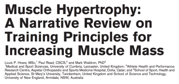 Muscle Hypertrophy: A Narrative Review on Training